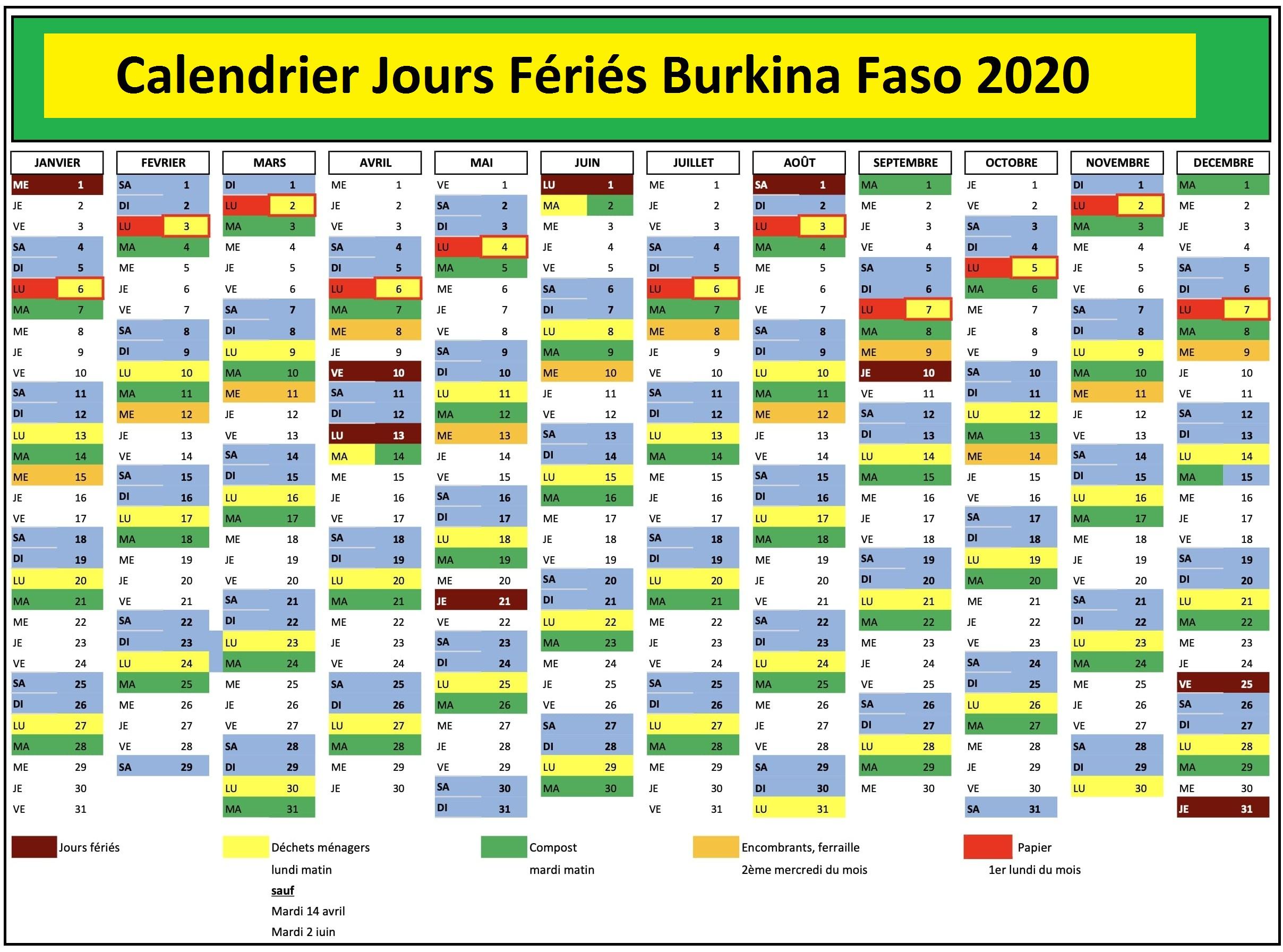 Jours Fériés Burkina Faso 2020 Excel