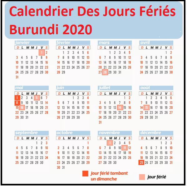 Calendrier Des Jours Fériés Au Burundi 2020