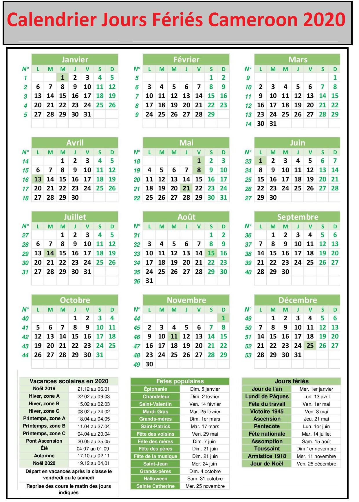 Calendrier Jours Feries Cameroun 2020 Et 2021