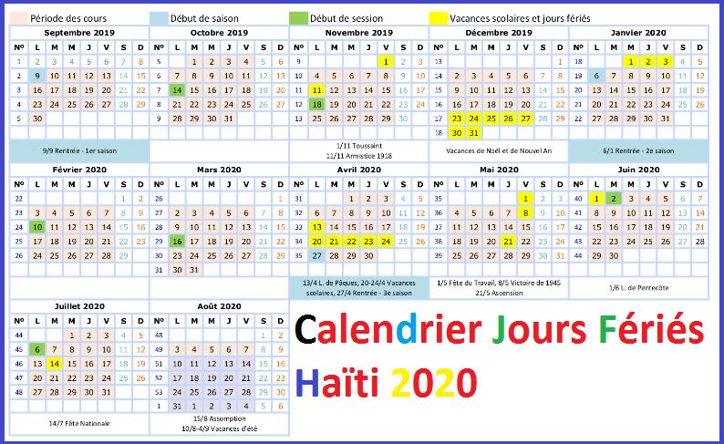 Jours Fériés Haïti 2020 Excel