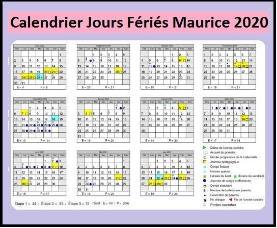 Calendrier Maurice Avec Jours Fériés 2020
