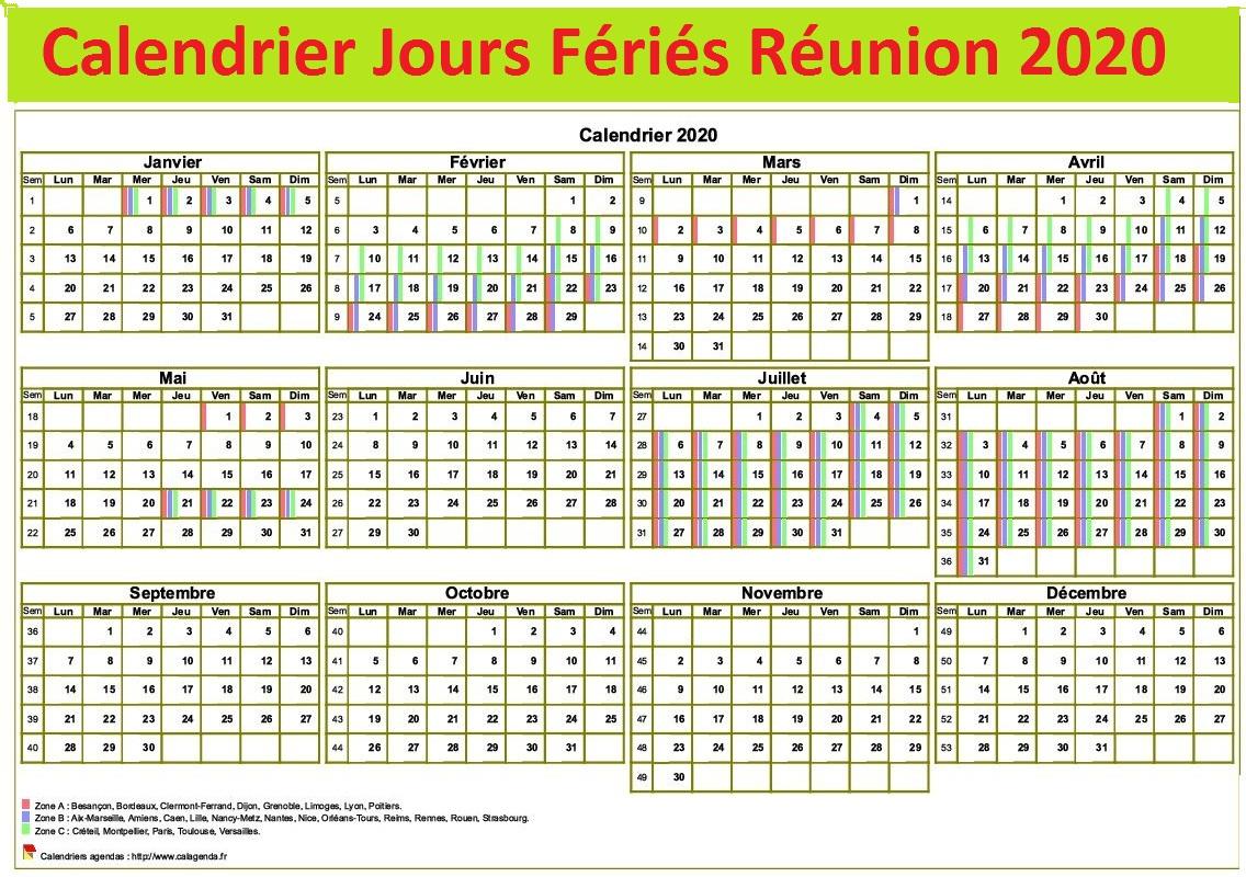 Calendrier 2020 Réunion Avec Jours Fériés A Imprimer