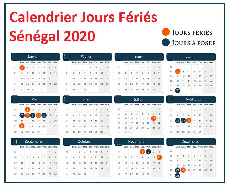 Calendrier Jours Feries Sénégal 2020 Et 2021