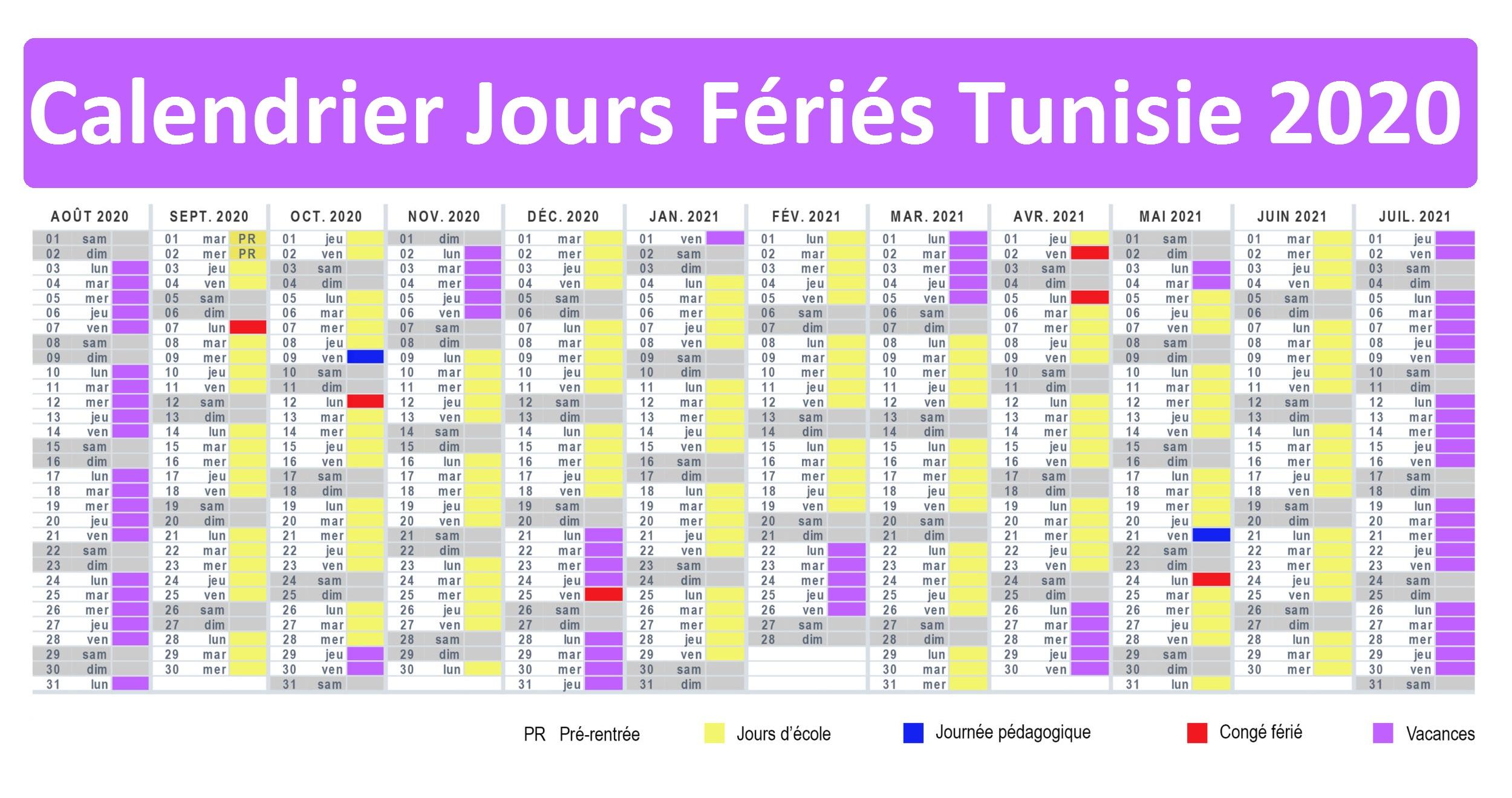 Calendrier Tunisie Avec Jours Fériés 2020