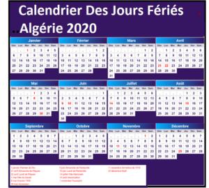 Calendrier Jours Feries algérie patriotique 2020