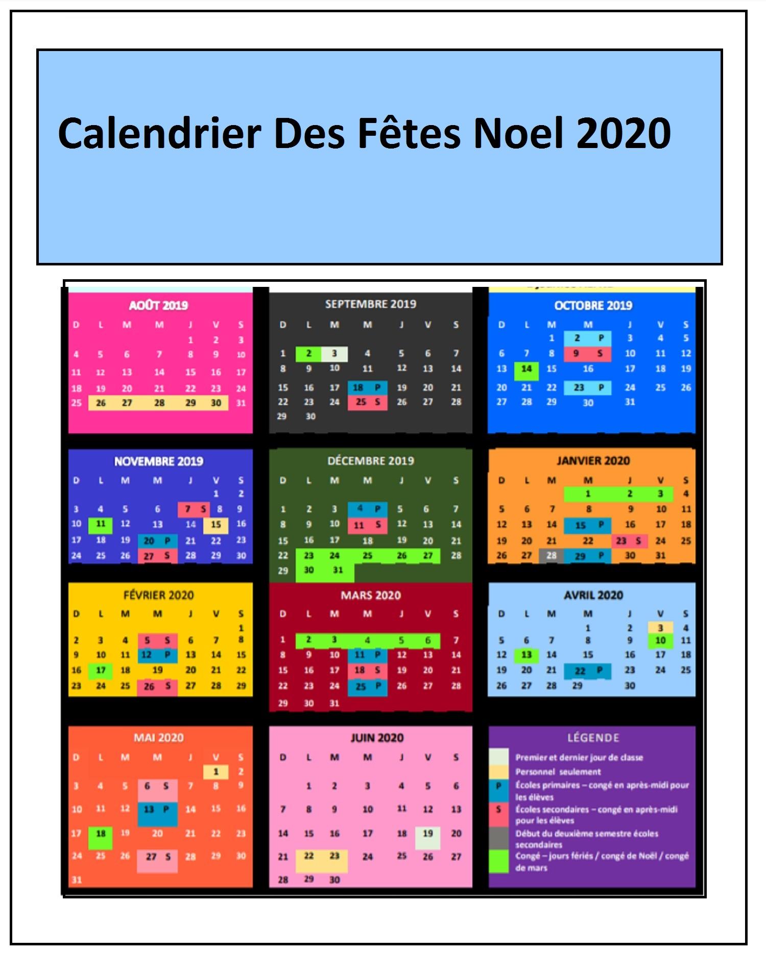 Calendrier La fête de Noël 2020