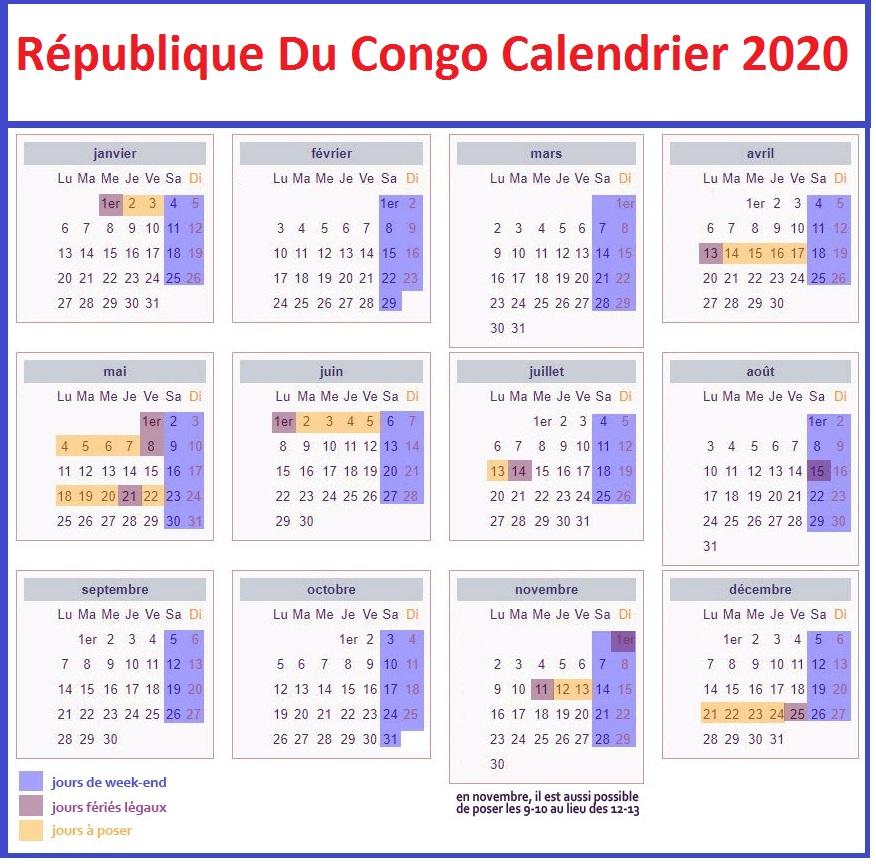 Calendrier Scolaire 2020 Rdc Pdf