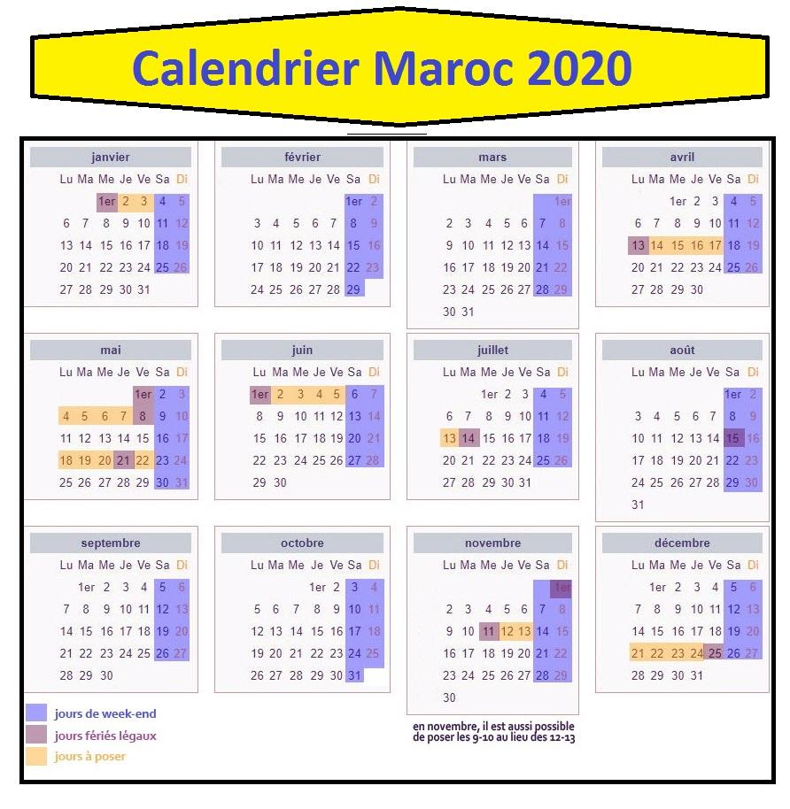 Calendrier Maroc 2020 A Imprimer