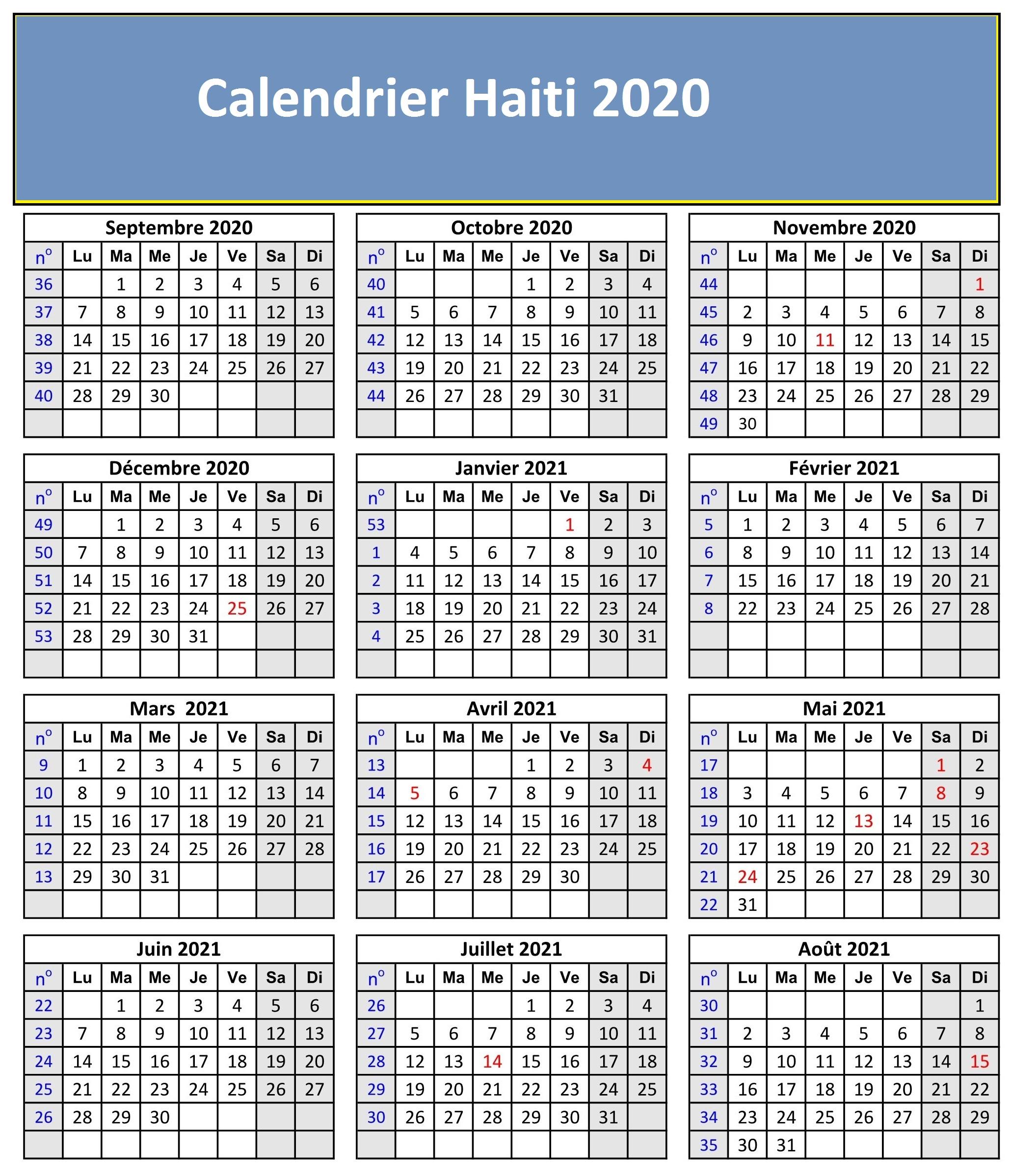 Calendrier Lunaire 2020 Haiti