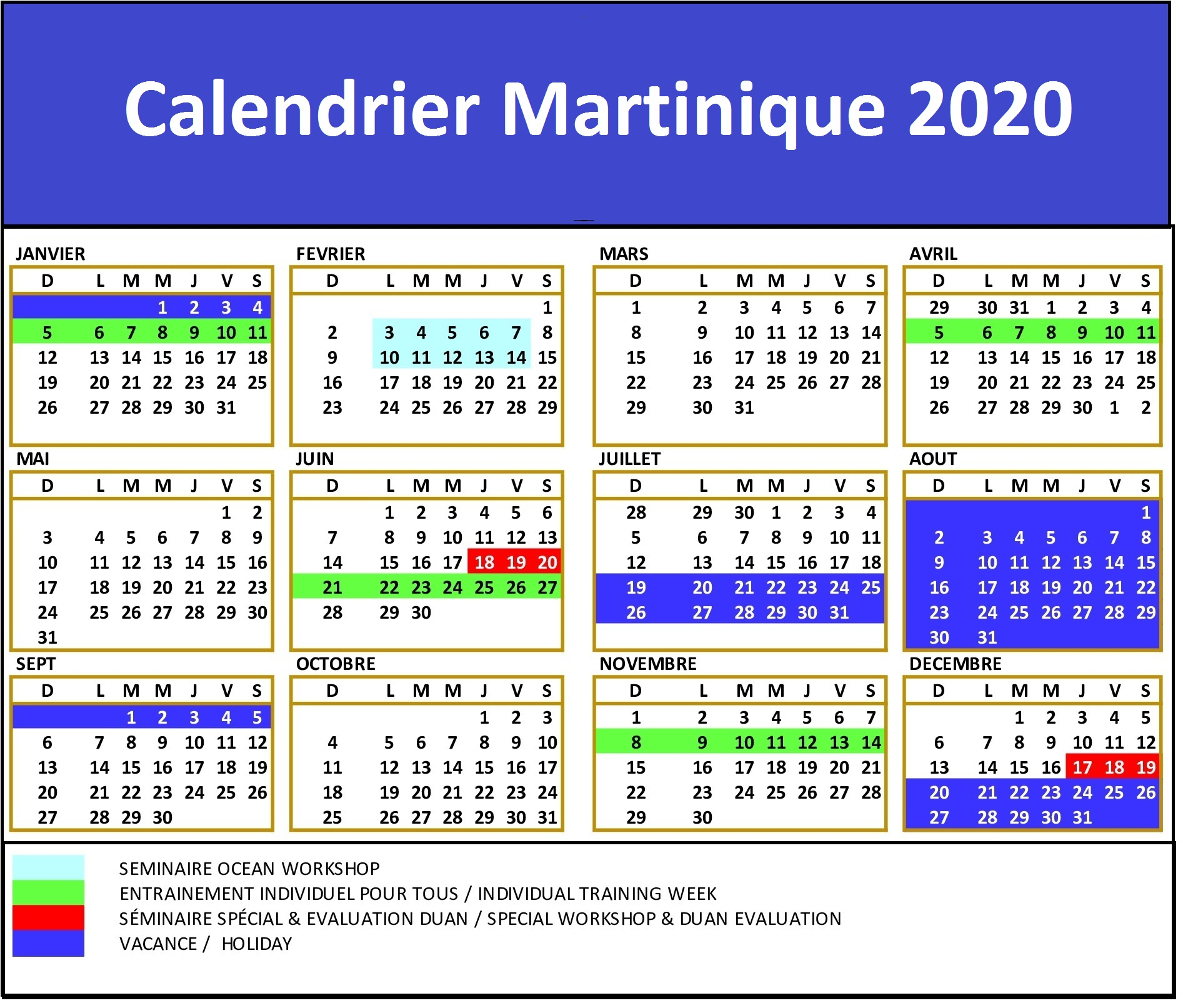 Calendrier Carnaval Martinique 2020