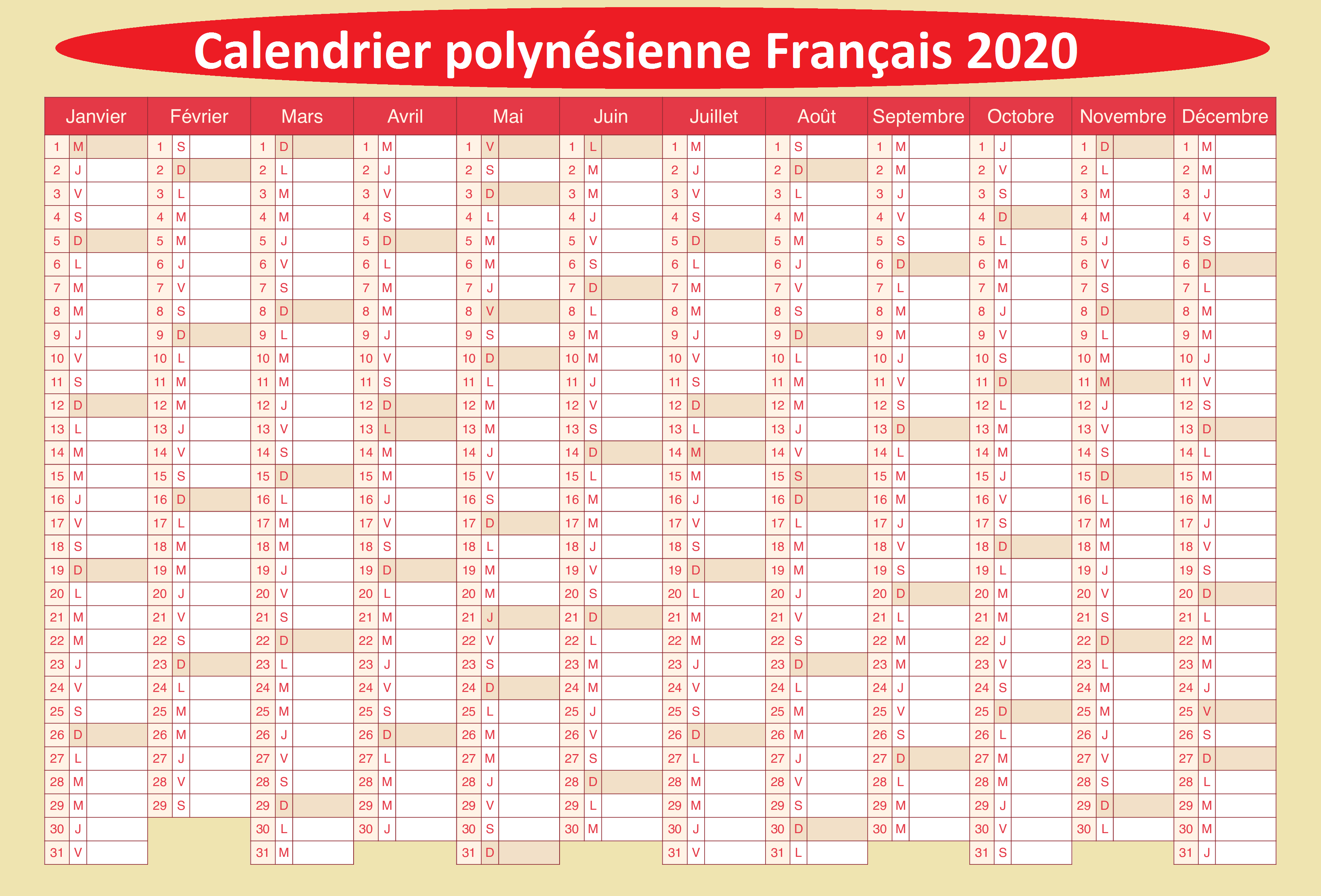 Calendrier Scolaire 2020 et 2021 Air Tahiti Nui