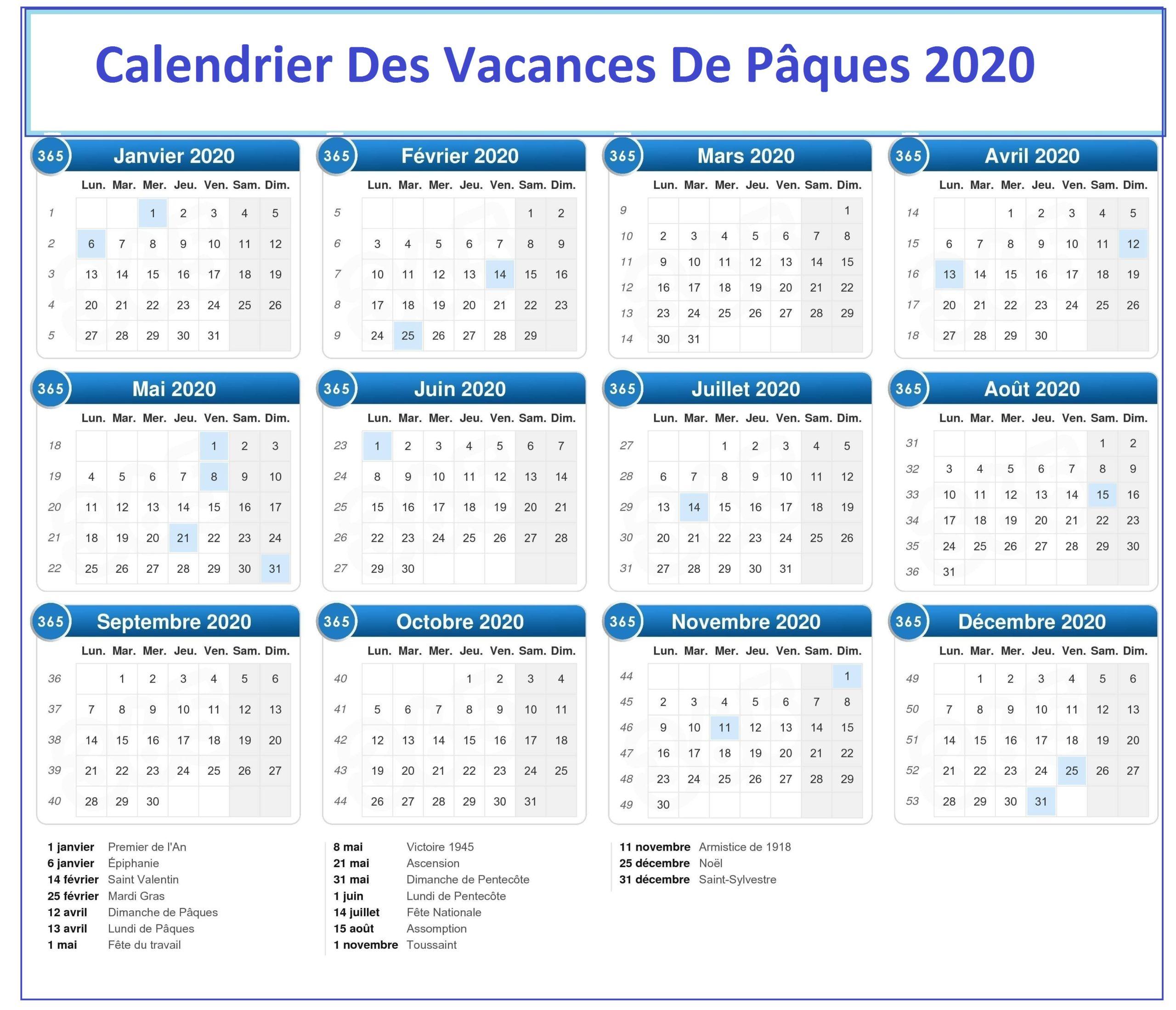 Dates Vacances Paques 2020