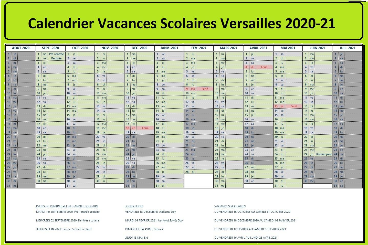 Calendrier Vacances Scolaires 2020 Academie De Versailles