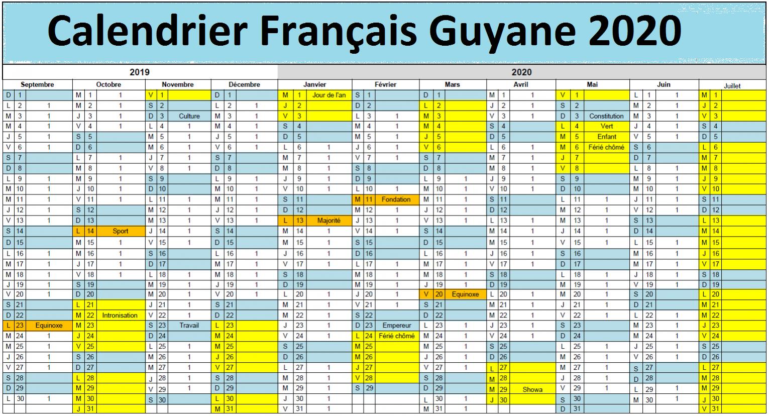 Français Guyane Calendrier scolaire 2020-2021 à Imprimer