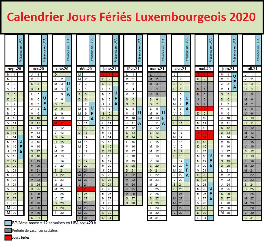 Jours Fériés luxembourgeois 2020 Bancaires