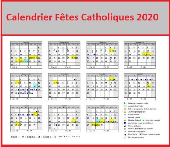 Dates des fêtes Catholiques 2020