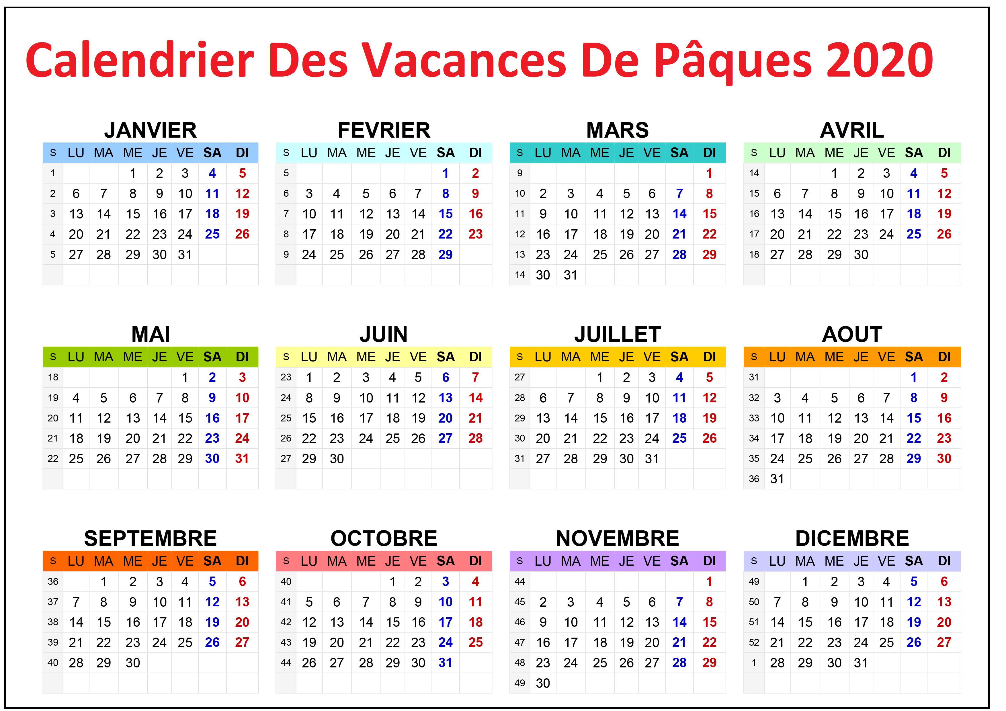 Calendrier Vacances Scolaire Pâques 2020