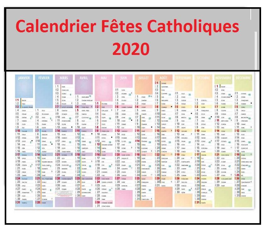 Calendrier des fêtes Religieuses Catholiques 2020