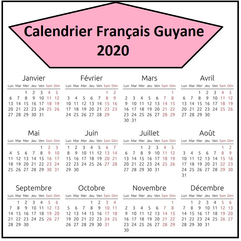 Calendrier Vacances Scolaires 2020 Academie De Français Guyane