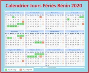 Jours Fériés Bénin 2020 Pdf