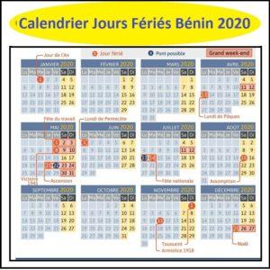 Calendrier Jours Feries Bénin 2020 Et 2021
