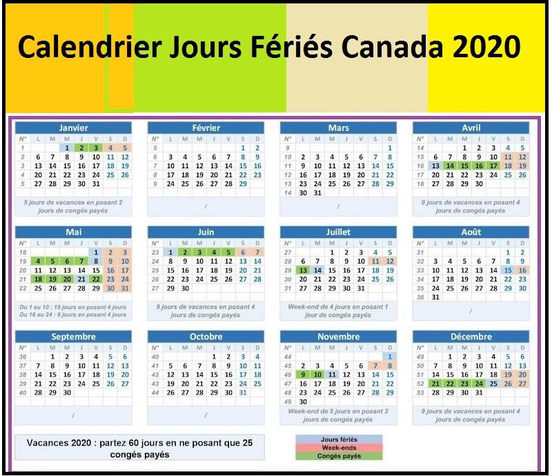 Calendrier Jours Fériés Poste Canada 2020