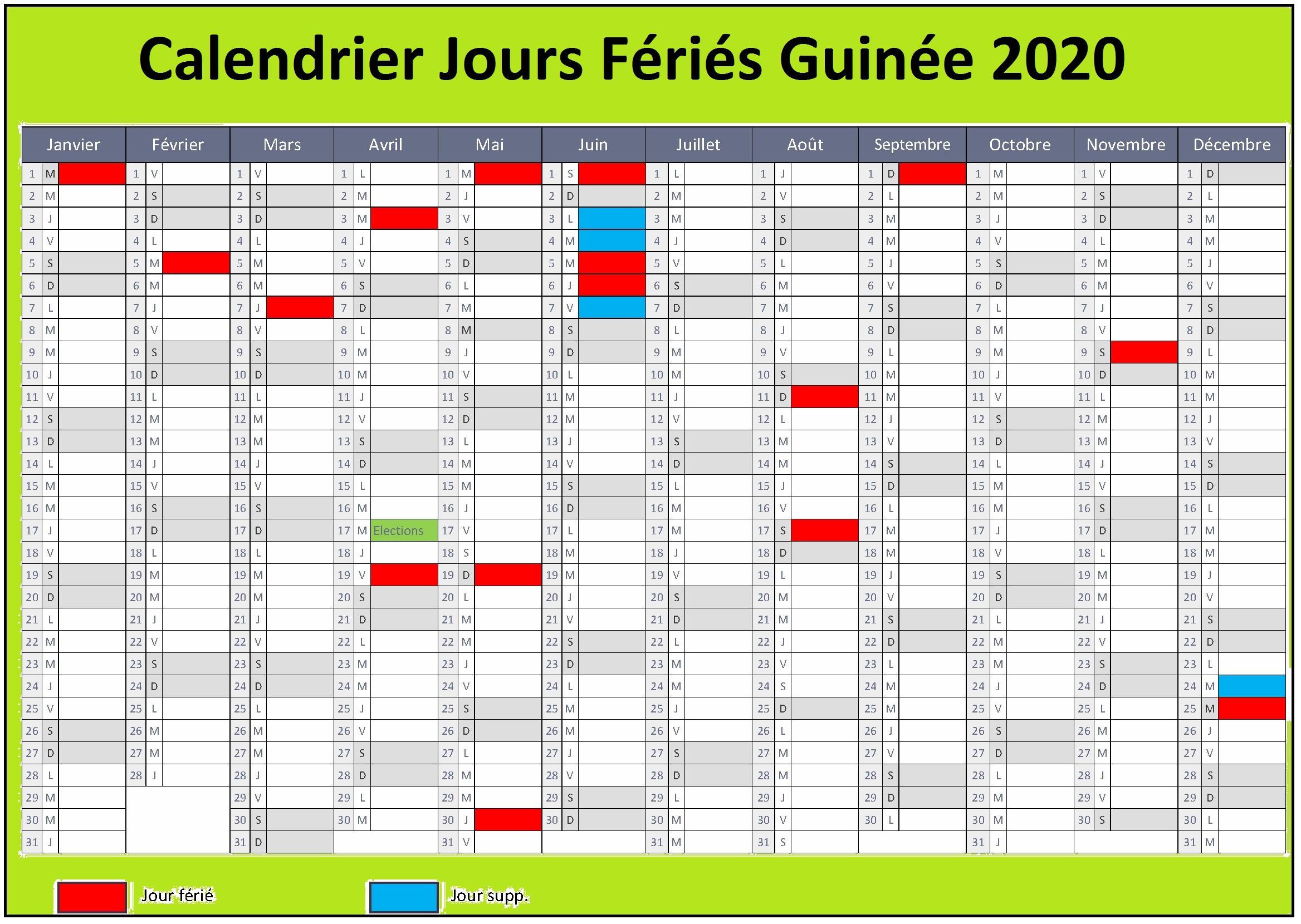 Calendrier Des Jours Fériés Guinéens 2020