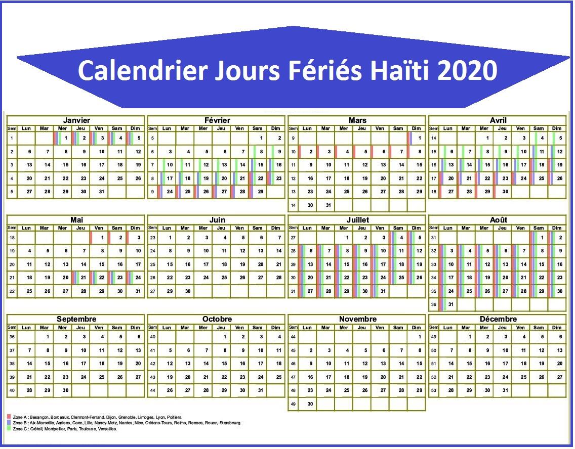 Calendrier Des Jours Fériés Haïti 2020