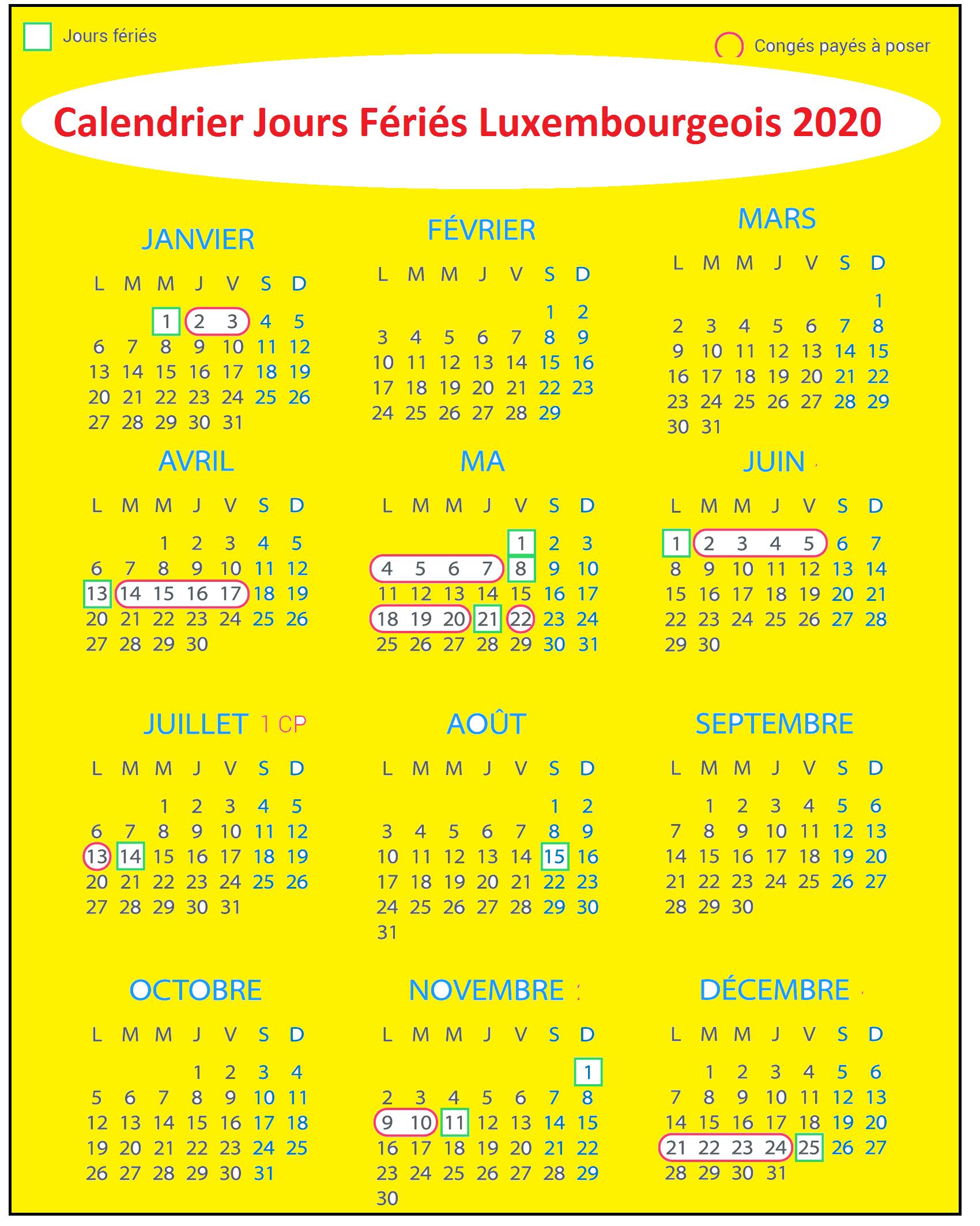 Calendrier Des Jours Fériés luxembourgeois 2020