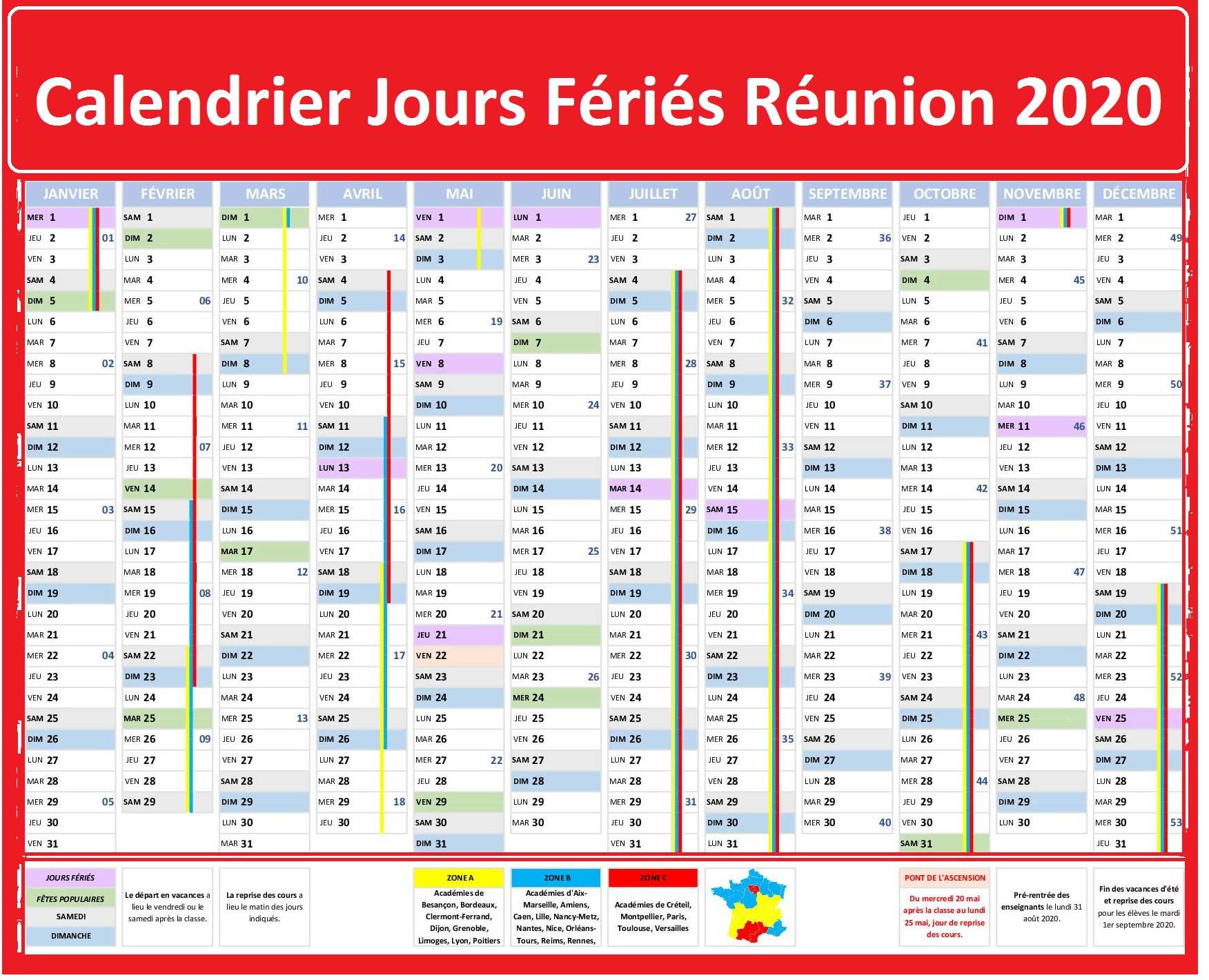 Calendrier Des Jours Fériés De La Réunion 2020