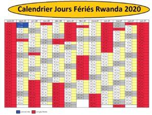Calendrier 2020 Rwanda Avec Jours Fériés A Imprimer