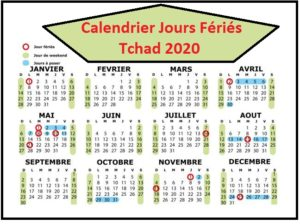 Calendrier 2020 Tchad Avec Jours Fériés A Imprimer
