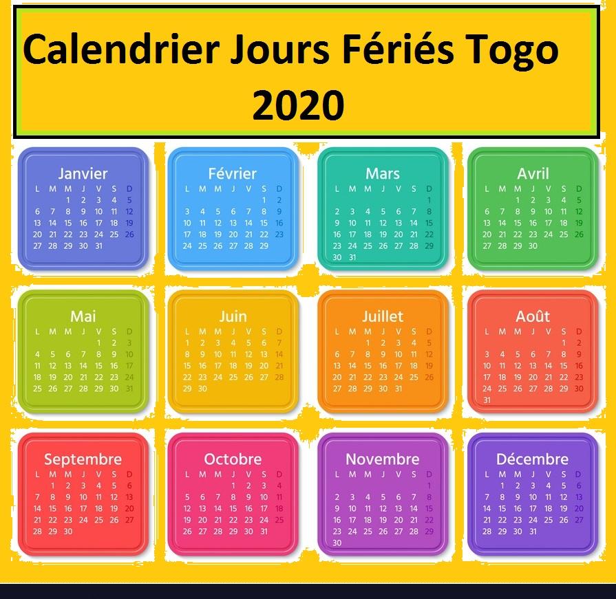 Jours Fériés Togo 2020 Excel