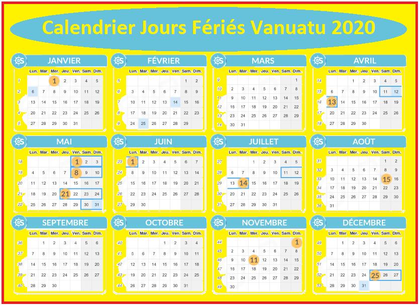 Calendrier 2020 Vanuatu Avec Jours Fériés A Imprimer