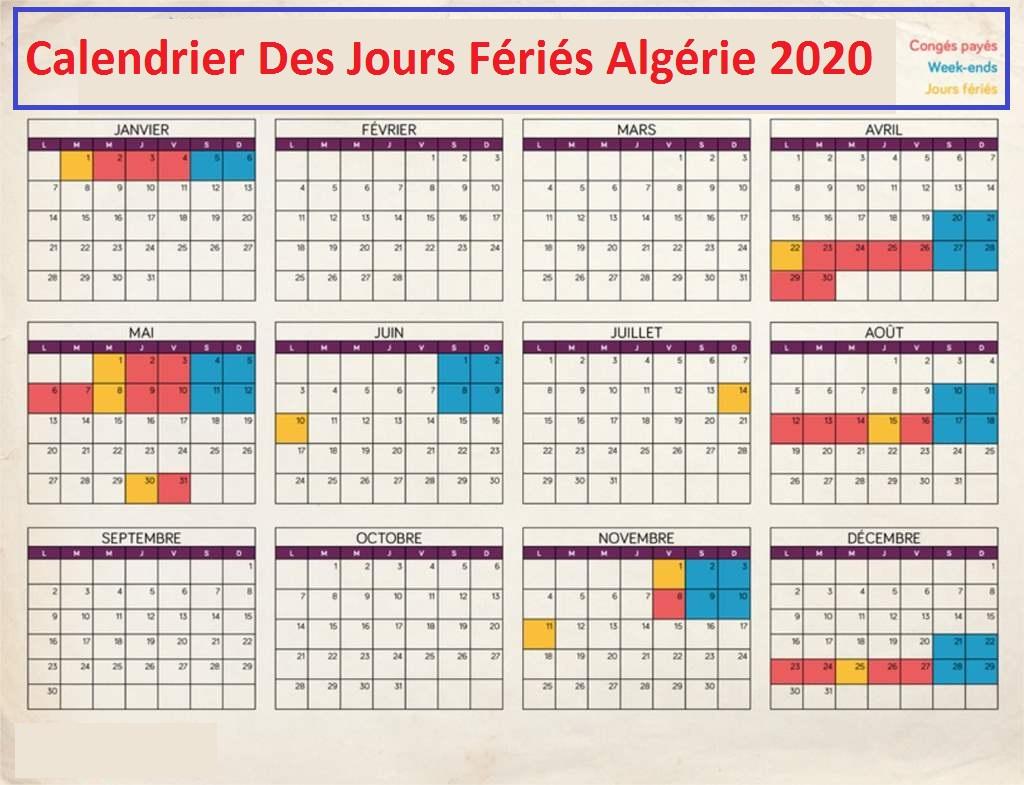 Calendrier Jours Feries algérie dzfoot 2020