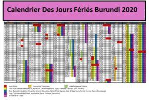 Calendrier Jours Feries Burundi 2020 Et 2021