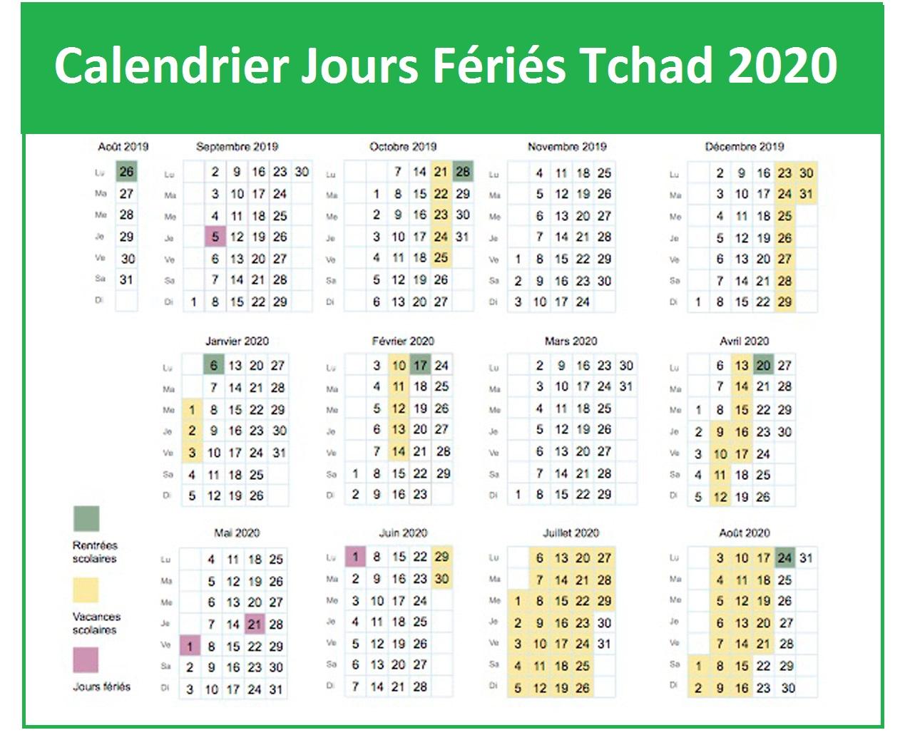 Calendrier Des Jours Fériés Au Tchad 2020