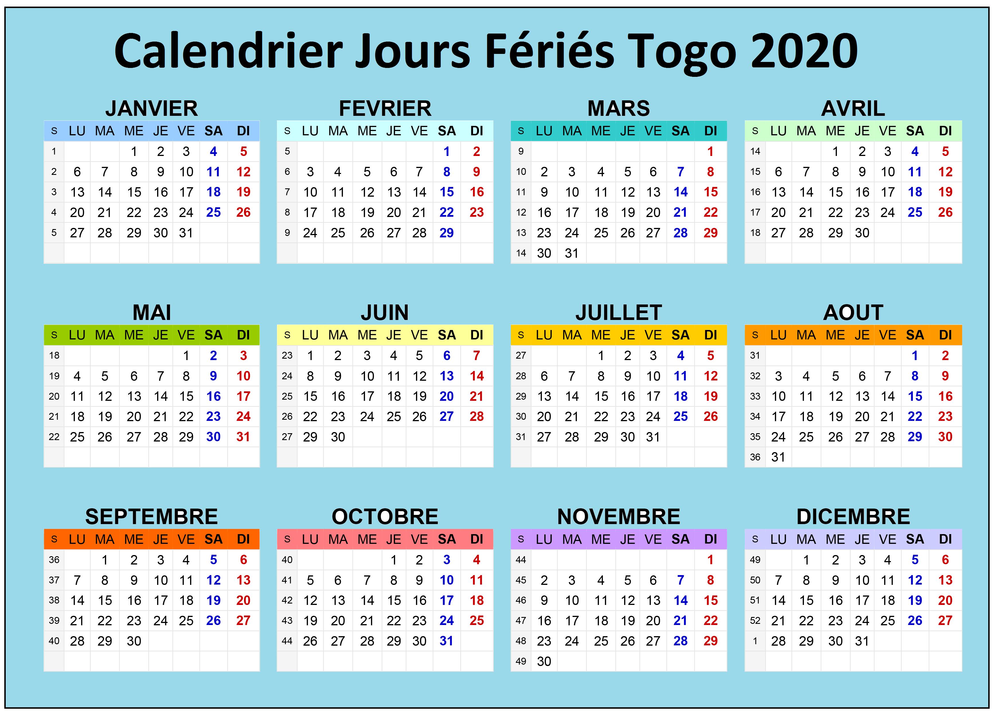 Calendrier Jours Feries Togo 2020 Et 2021