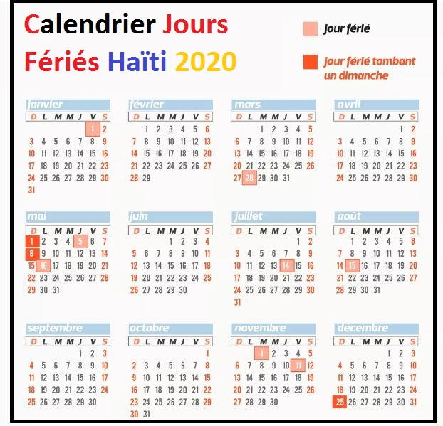 Calendrier Jours Feries Haïti 2020 Et 2021