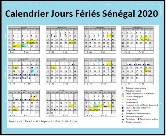 Calendrier 2020 Sénégal Avec Jours Fériés Pdf