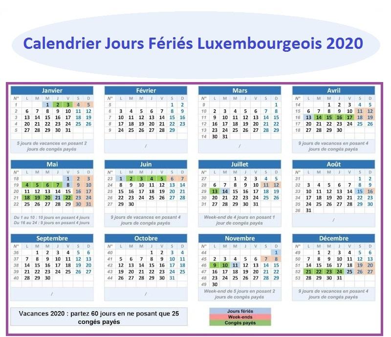 Les Jours Fériés luxembourgeois 2020